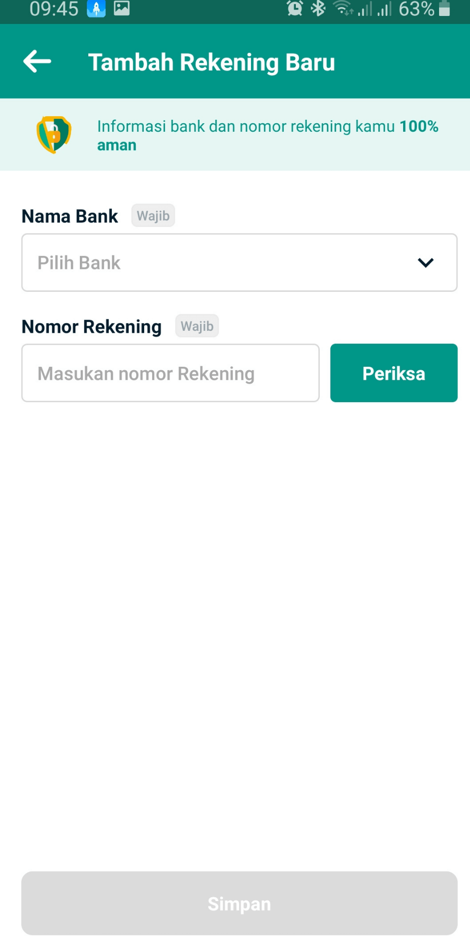 Isi informasi terkait rekening anda dengan memasukan nama bank dan nomor rekening