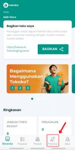 """Buka aplikasi Tokoko Anda dan pilih fitur """"Promosi"""""""