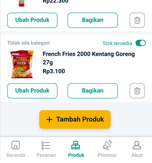Buka menu Produk lalu klik tombol Tambah Produk